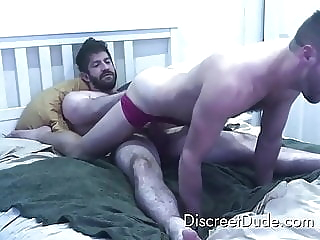 Verbal hairy dad tells hookup he's gonna nut inside bareback (gay) blowjob (gay) daddy (gay)