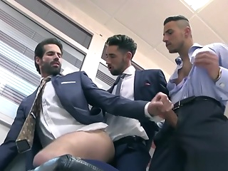 Muscle threesome with facial in office group sex cumshot gay