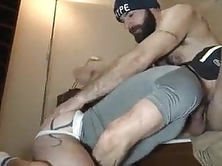 Bare flipping bear blowjob hunk